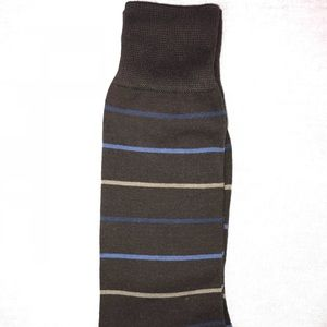 Other - Men's Dress Socks Brown with Blue Stripes